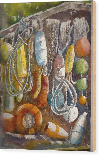 Floats Wood Print by KC Winters