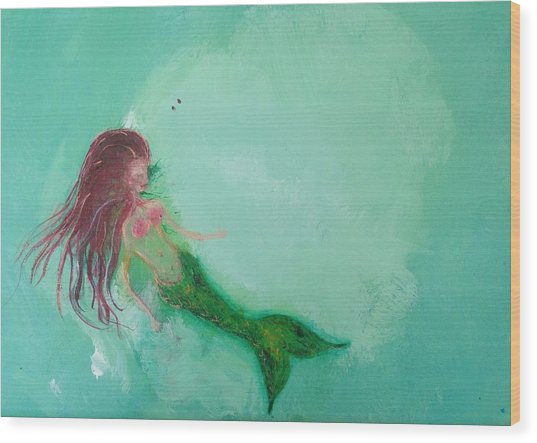 Floaty Mermaid Wood Print