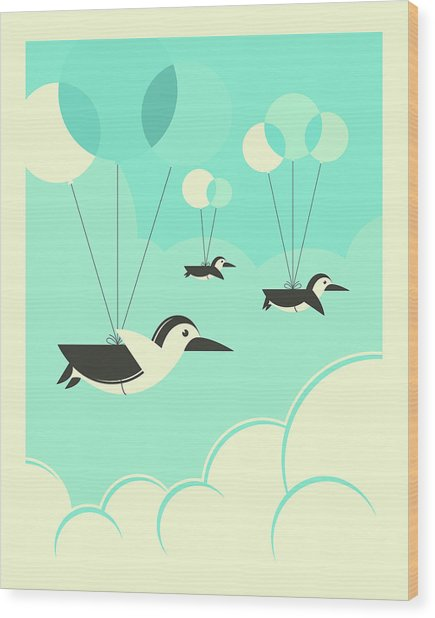 Flock Of Penguins Wood Print