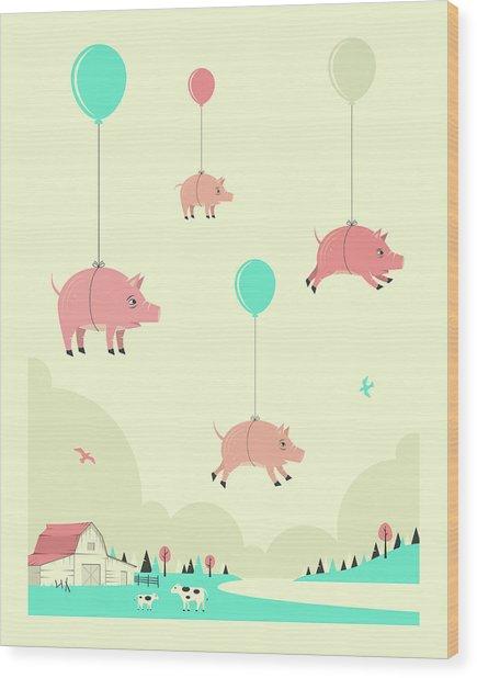 Flock Of Pigs Wood Print