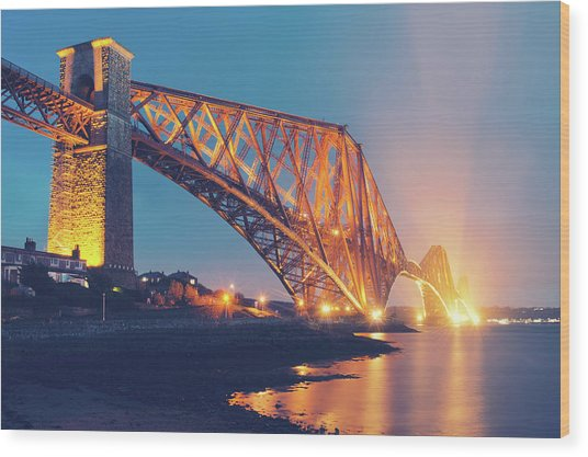 Floodlit Forth Bridge Wood Print