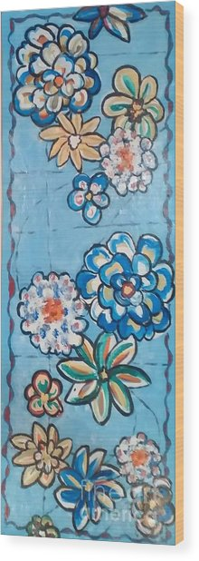 Floor Cloth Blue Flowers Wood Print