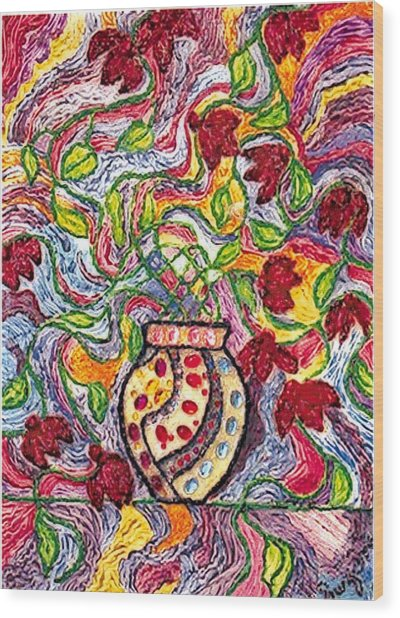 Floowers In A Jeweled Vase Wood Print by Brenda Adams