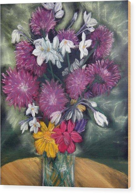 Flora Aura   Pastel Wood Print