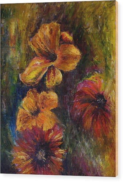 Flora Wood Print by Lou Ewers