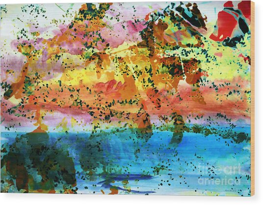 Wood Print featuring the painting Rustic Landscape Abstract  D2131716 by Mas Art Studio