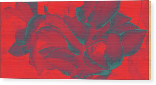 Floral Abstract In Dramatic Red Wood Print