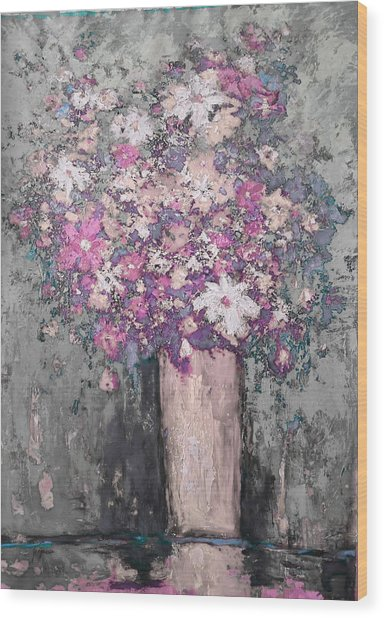 Floral Abstract - Reverse - Modern Impressionist Palette Knife Work Wood Print