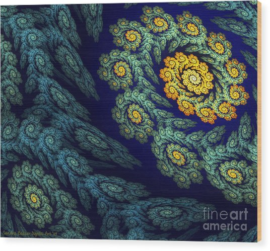 Wood Print featuring the digital art Floral Abyss by Sandra Bauser Digital Art