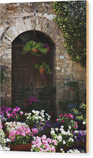 Floral Adorned Doorway Wood Print