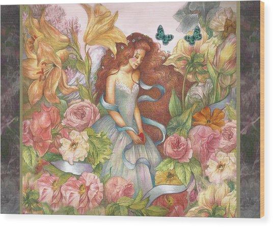 Floral Angel Glamorous Botanical Wood Print