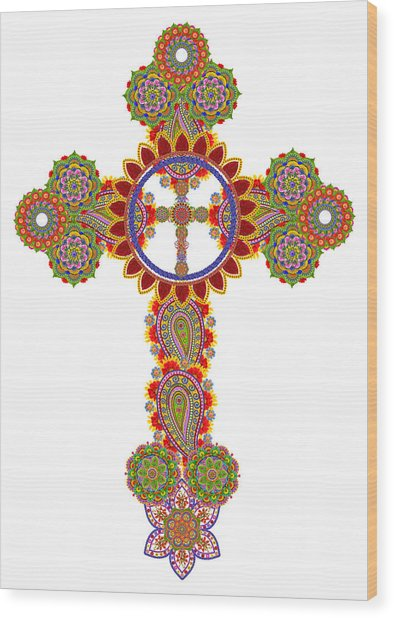 Floral Celtic Cross  Wood Print by Aleksandr Volkov