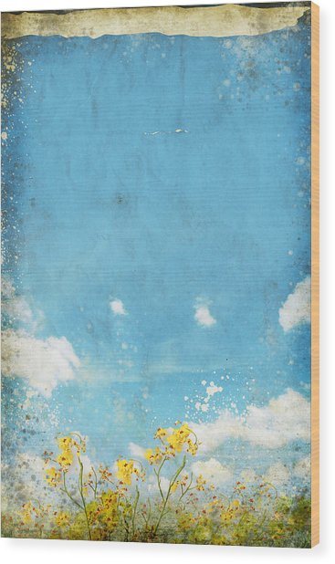 Floral In Blue Sky And Cloud Wood Print