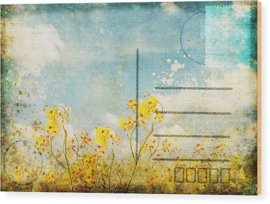 Floral In Blue Sky Postcard Wood Print