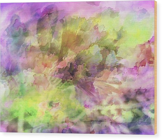 Floral Pastel Abstract Wood Print