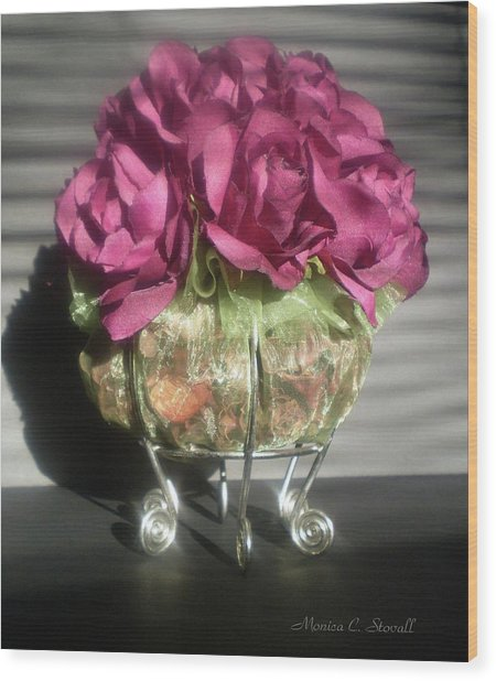 Floral Potpourri On A Silver Stand Wood Print