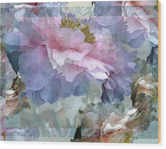 Floral Potpourri With Peonies 24 Wood Print