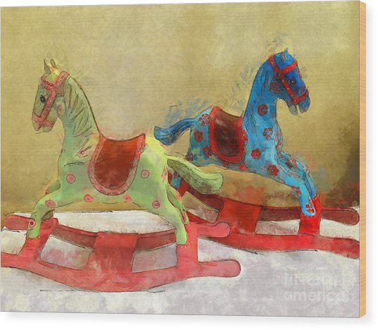 Floral Rocking Horses Wood Print