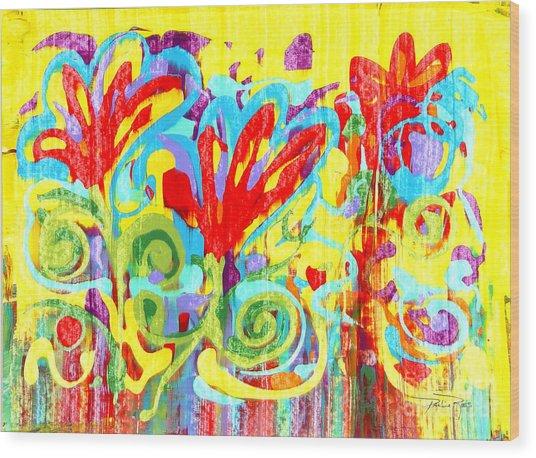 Floral Swirls Wood Print by Pauline Ross