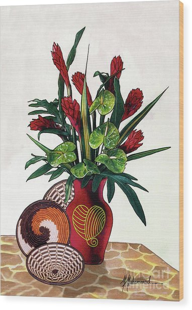 Floral Tropical Wood Print by Marcella Muhammad