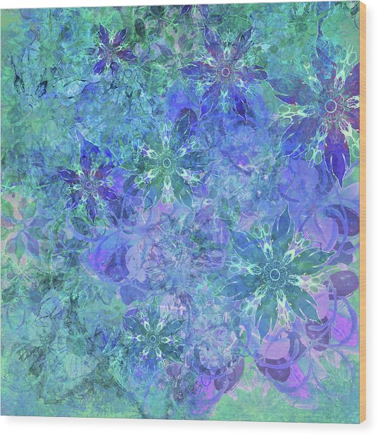 Floral Watercolor Blue Wood Print