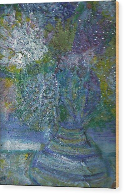 Floral With Cracked Vase Wood Print by Anne-Elizabeth Whiteway