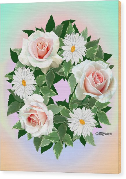 Floral Wreath Wood Print