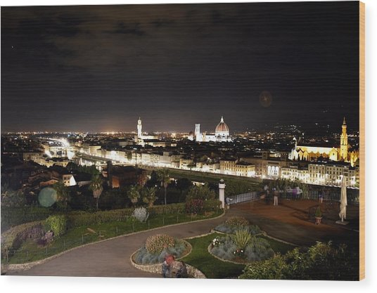 Florence At Night Wood Print
