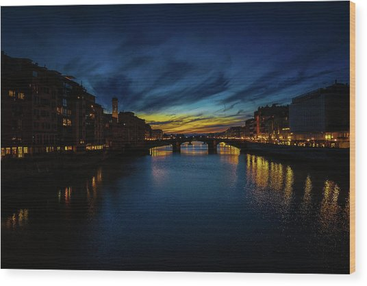 Florence At Sunset Wood Print