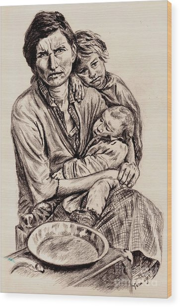 Florence Owens With Children Wood Print