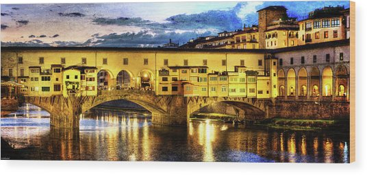 Florence - Ponte Vecchio Sunset From The Oltrarno - Vintage Version Wood Print