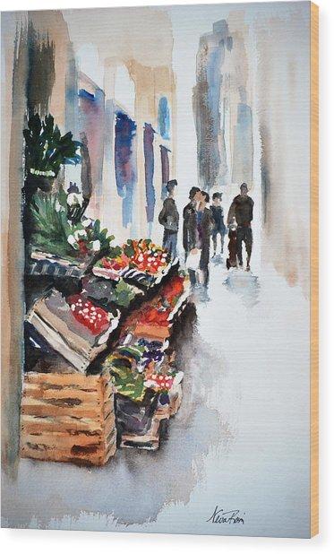 Florence Street Market Wood Print by Neva Rossi