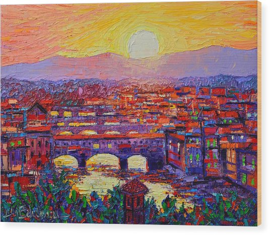 Florence Sunset Over Ponte Vecchio Abstract Impressionist Knife Oil Painting By Ana Maria Edulescu Wood Print