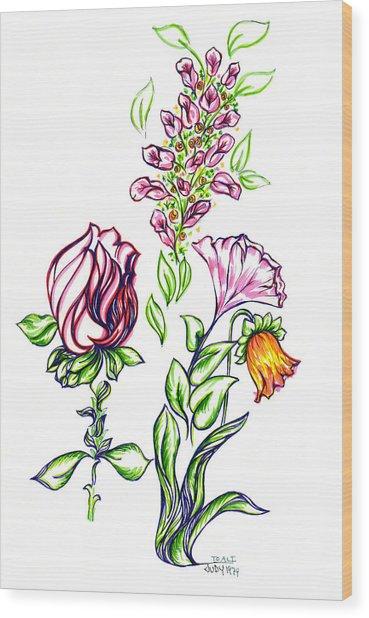 Florets Wood Print by Judith Herbert
