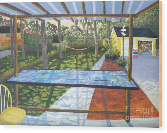 Florida Backyard Wood Print by Blaine Filthaut