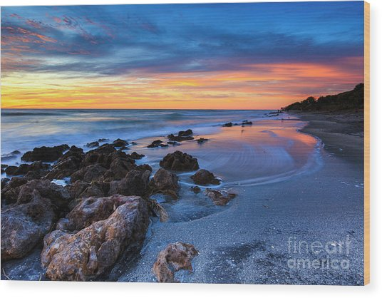 Florida Beach Sunset 3 Wood Print