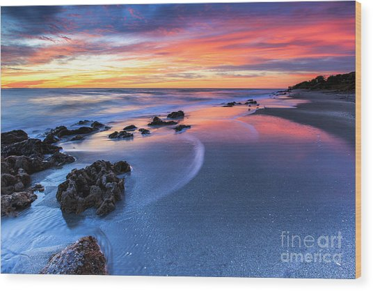 Florida Beach Sunset 4 Wood Print
