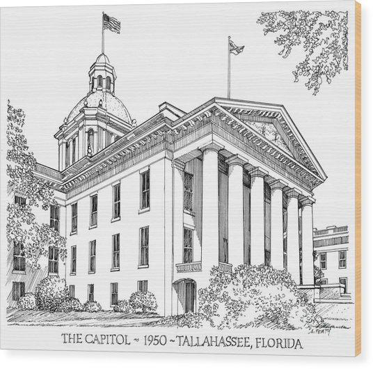 Florida Capitol 1950 Wood Print