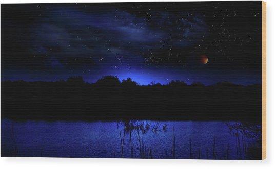 Florida Everglades Lunar Eclipse Wood Print