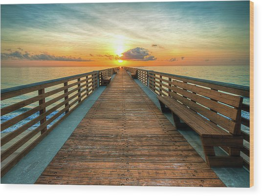Florida Pier Sunrise Wood Print