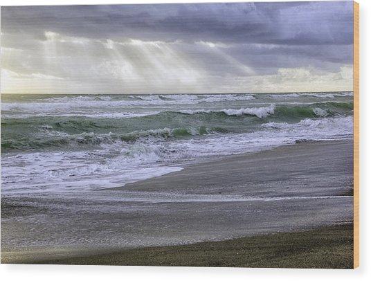 Florida Treasure Coast Beach Storm Waves Wood Print