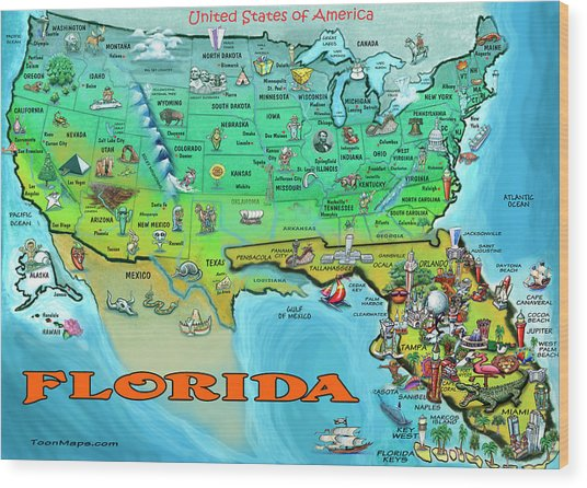 Florida Usa Cartoon Map Wood Print