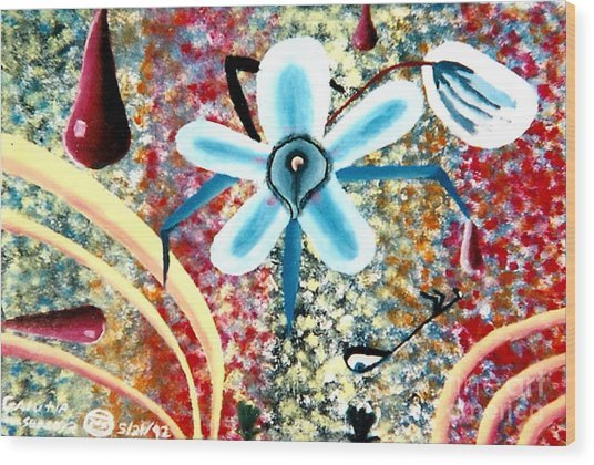 Flower And Ant Wood Print