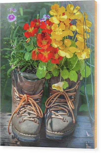 Flower Boots Wood Print
