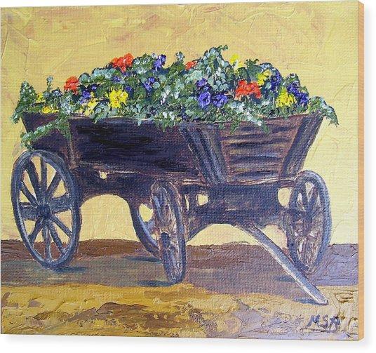 Flower Cart Wood Print by Maria Soto Robbins
