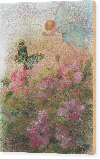 Flower Fairy Butterfly Roses Wood Print