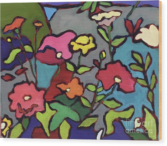 Flower Garden Wood Print by Catherine Martzloff
