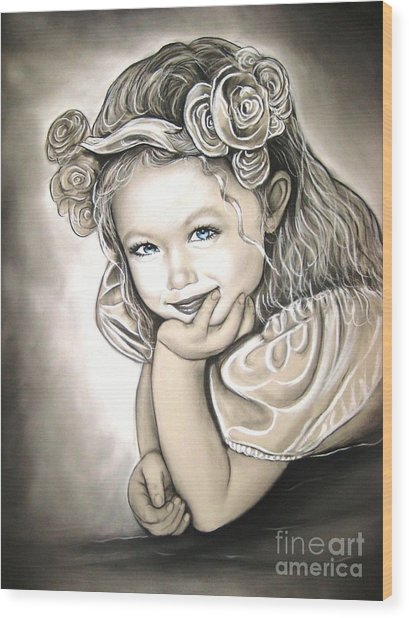 Flower Girl Wood Print by Anastasis  Anastasi
