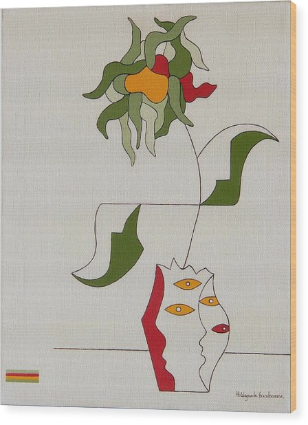 Flower Wood Print by Hildegarde Handsaeme