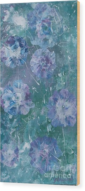 Flower In Blue Wood Print
